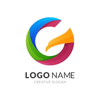 Letra ge design de logotipo de águia, logotipo moderno em cores gradientes vibrantes