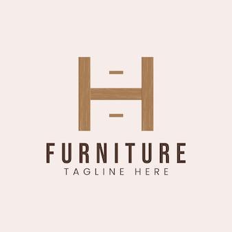 Letra h com inspiração de design de logotipo de conceito de móveis de madeira