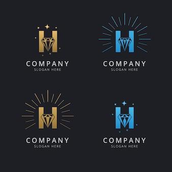 Letra h com modelo de logotipo de diamante abstrato de luxo