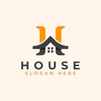 Letra h com modelo de logotipo de telhado