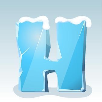 Letra h de gelo com neve no topo, fonte de vetor