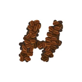 Letra h de grãos de café