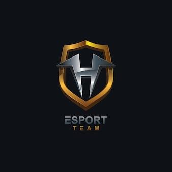 Letra h e logotipo do escudo esport