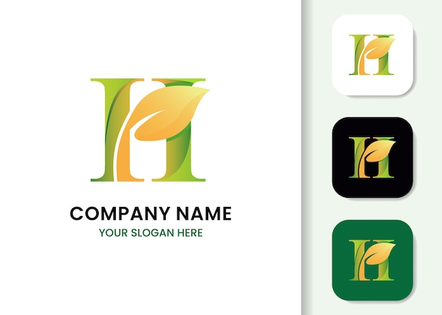 Letra h e modelo de logotipo de folha
