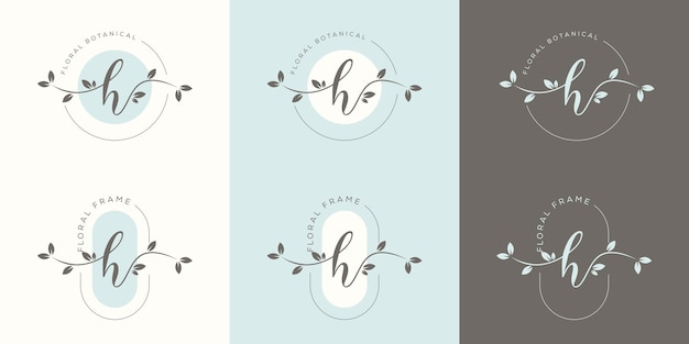 Letra h feminina com modelo de logotipo floral