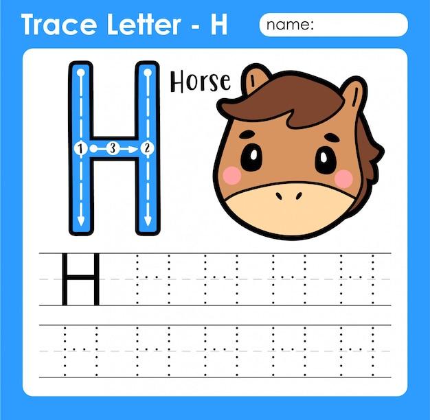 Letra h maiúscula - planilha de rastreamento de letras do alfabeto com cavalo