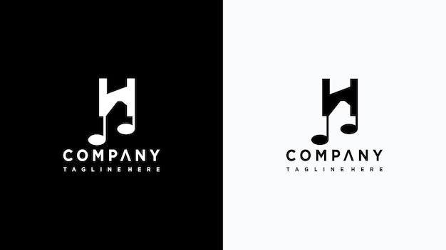 Letra h música logo design premium vector