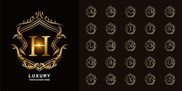 Letra h ou alfabeto inicial de coleção com modelo de logotipo dourado moldura floral ornamento de luxo.