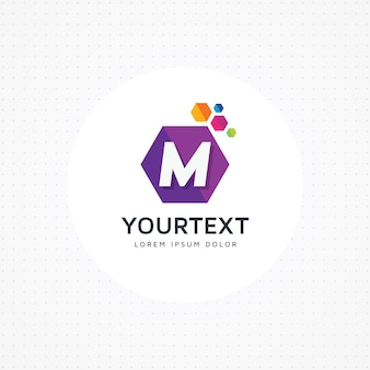 Letra hexagonal criativa m logo