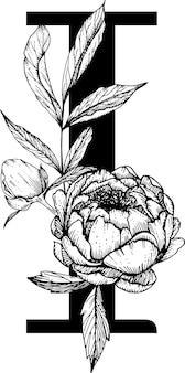 Letra i. alfabeto floral