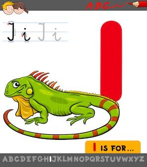 Letra i com iguana de desenho animado