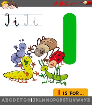 Letra i com personagens de insetos de desenhos animados