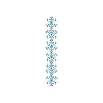 Letra i de flocos de neve. fonte ou decoração festiva para o ano novo e o natal
