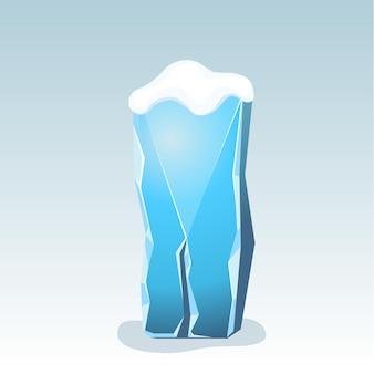Letra i de gelo com neve no topo, fonte de vetor