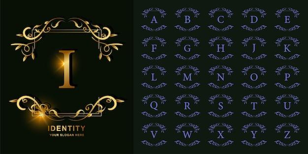 Letra i ou alfabeto inicial da coleção com modelo de logotipo dourado moldura floral ornamento de luxo.