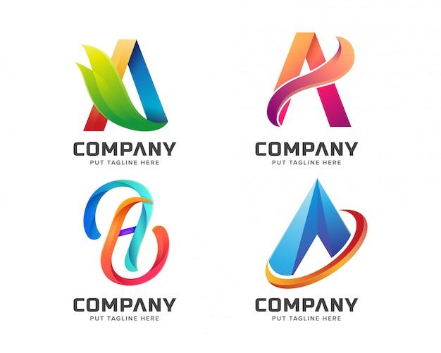 Letra inicial a logotipo modelo para empresa
