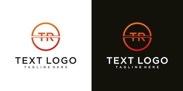 Letra inicial abstrata tr tr modelo de design de logotipo mínimo