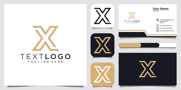 Letra inicial abstrata x modelo de design de logotipo e cartão de visita
