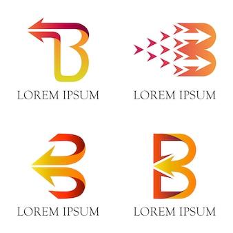Letra inicial b com logotipo do negócio da seta