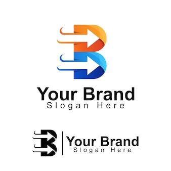 Letra inicial b com modelo de logotipo de negócios de seta