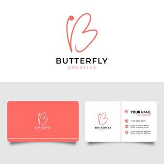 Letra inicial b com símbolo de borboleta. design de logotipo de arte de linha minimalista e cartão de visita.