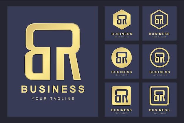 Letra inicial br com várias versões, modelo de logotipo dourado elegante
