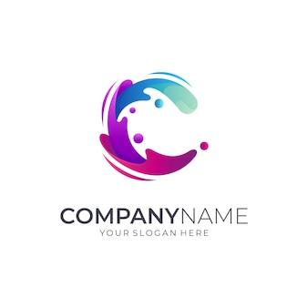 Letra inicial c + design de logotipo de onda