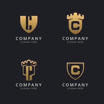 Letra inicial c e escudo com estilo dourado