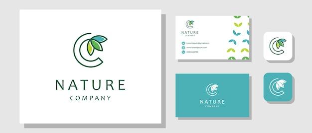 Letra inicial c folha natureza planta design de logotipo moderno orgânico fresco com layout de identidade de marca