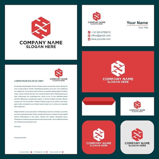 Letra inicial ch sheild company design logotipo e cartão de visita