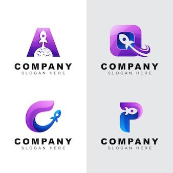 Letra inicial com pacote de logotipo de negócios de foguete. letra a, c, p, q design de logotipo