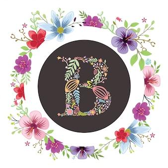 Letra inicial com vetor floral