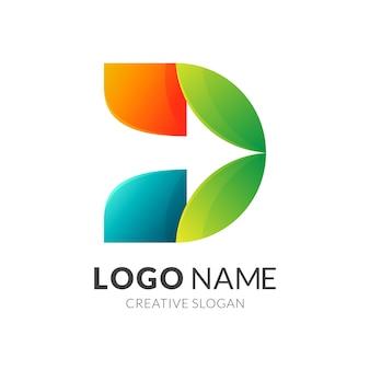 Letra inicial d com seta + logotipo colorido