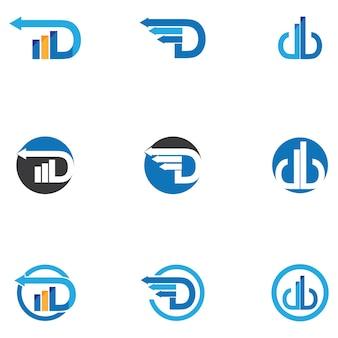 Letra inicial d e logotipo financeiro e modelo de símbolo