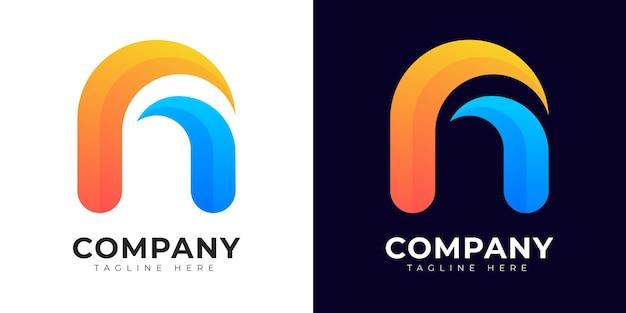 Letra inicial de estilo gradiente moderno e modelo de design de logotipo
