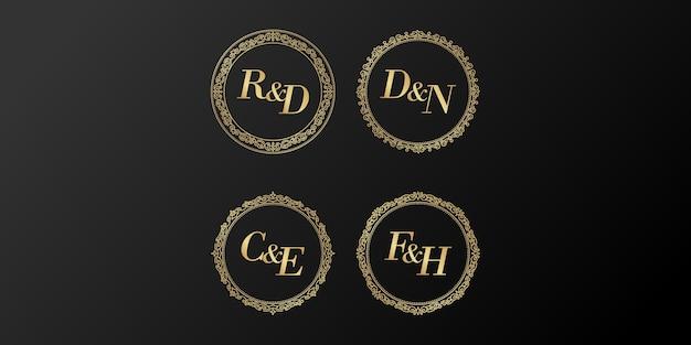 Letra inicial do alfabeto dourado do casamento