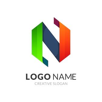 Letra inicial do hexágono n logotipo da empresa