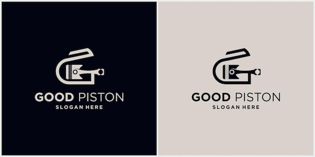 Letra inicial do logotipo da tecnologia g símbolo do logotipo automotivo do pistão ilustração em vetor do logotipo do pistão