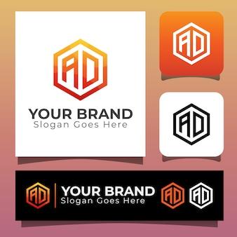 Letra inicial do monograma ad para o logotipo de identidade de sua marca, design moderno de logotipo de consultoria em hexágono