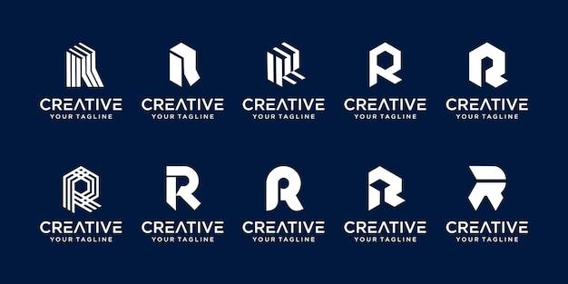 Letra inicial do monograma r rr logo ícone cenografia para negócios de tecnologia de construção de moda