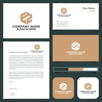 Letra inicial e2 sheild company design logotipo e cartão de visita