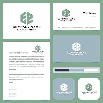 Letra inicial ee sheild company design logo e cartão de visita