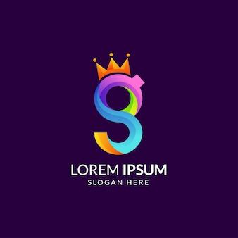 Letra inicial g colorida com logotipo da coroa