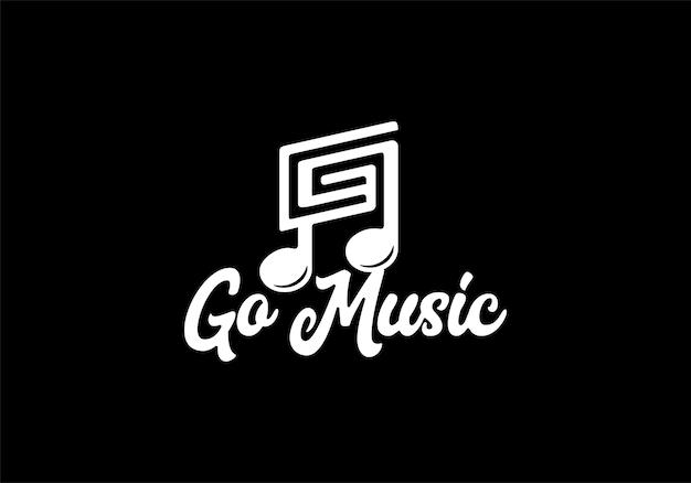 Letra inicial g com tom musical, inspiração para modelo de design de logotipo de músico