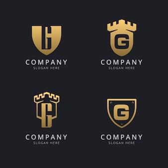 Letra inicial g e escudo com estilo dourado