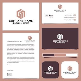 Letra inicial gn sheild company design logo e cartão de visita
