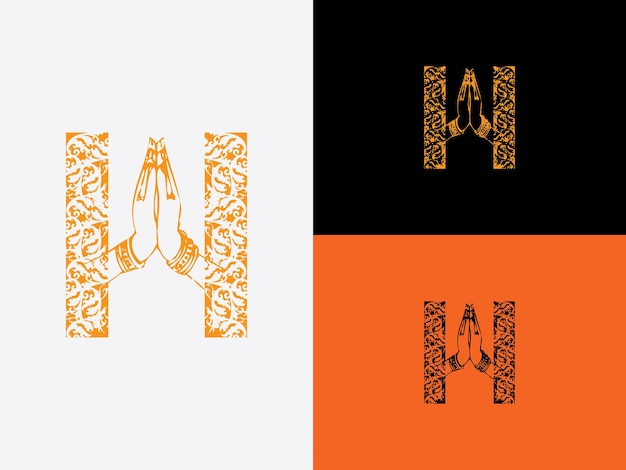 Letra inicial h com desenhos de redemoinhos e duas mãos pressionadas juntas palmas tocando e dedos apontando para cima ícone do logotipo do vetor