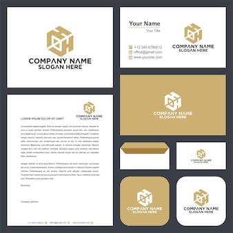 Letra inicial hh sheild company design logo e cartão de visita