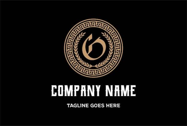 Letra inicial inicial g para vetor de design de logotipo de moldura de círculo da grécia antiga