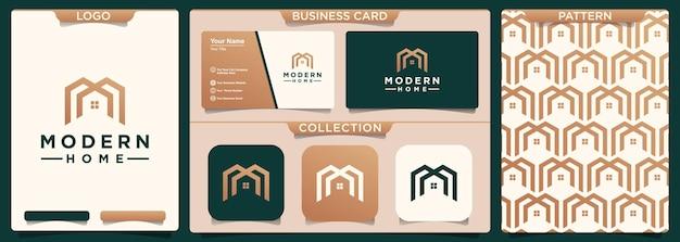 Letra inicial m com modelo de design de logotipo de casa de elemento.